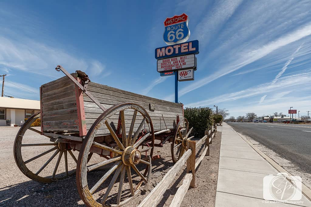 Vintage Route 66 Hotel Sign in Seligman Arizona