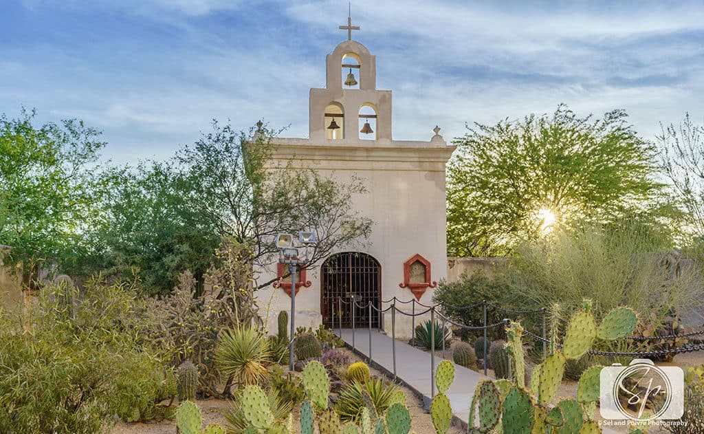 San Xavier del Bac Mission Chapel at Sunset in Tucson