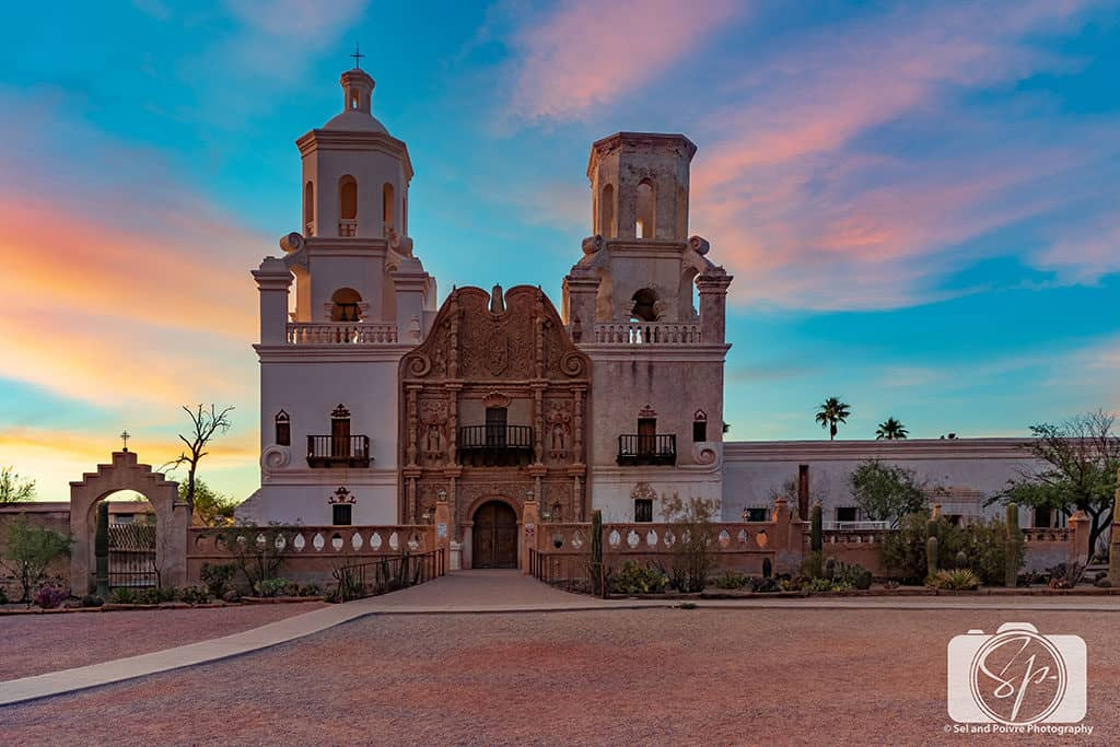 Sunset at San Xavier del Bac Mission in Tucson