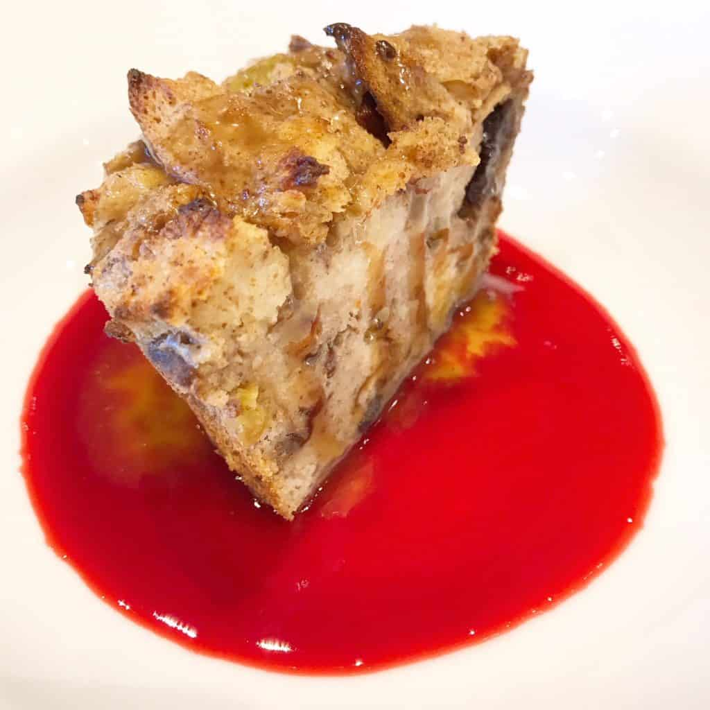 Steamboat Bay Bread pudding with raspberry sauce