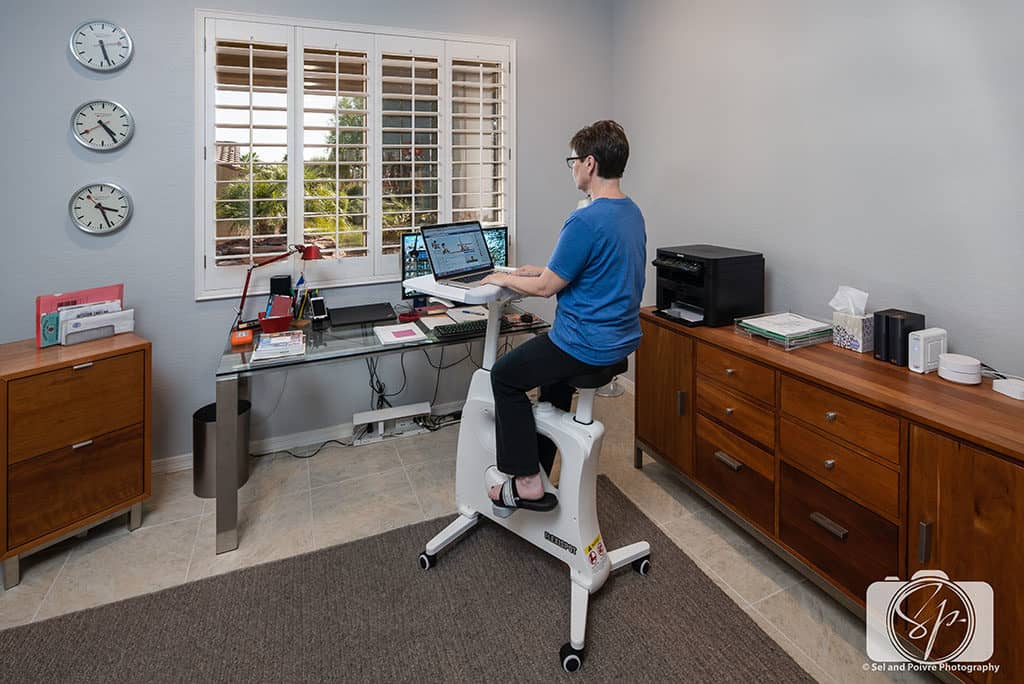 Andi Working on the FlexiSpot Desk Bike Deskcise Pro
