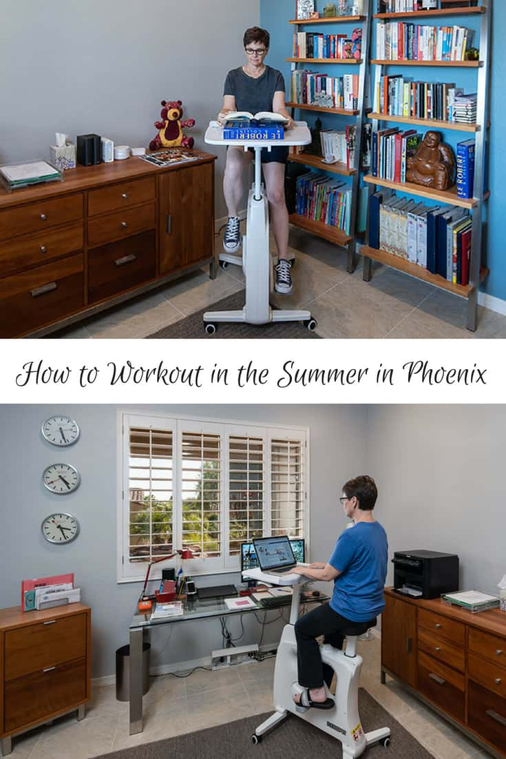 How to Workout in the Summer in Phoenix Andi Exercising on the FlexiSpot Desk Bike Deskcise Pro