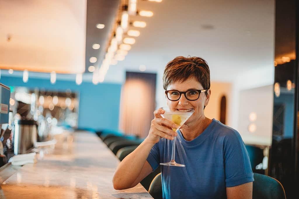 Andi having a martini at the Mountain Shadows Resort Bar