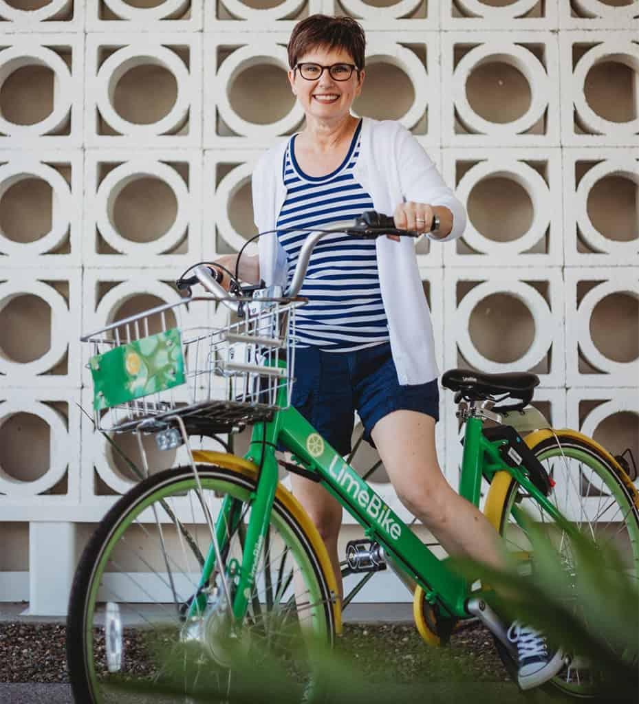 Andi on Rental Bike at Mountain Shadows Resort green