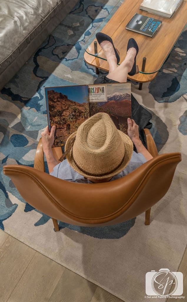 Andi reading Arizona Highway in the Presidential Suite of Mountain Shadows Resort