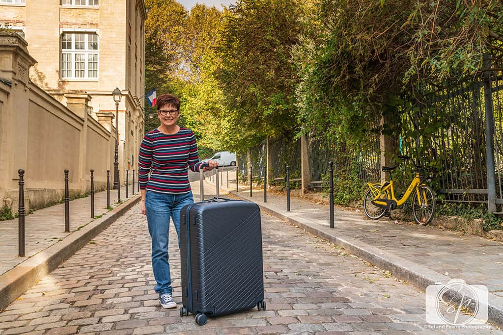 Andi with her OOO Suitcase in Paris