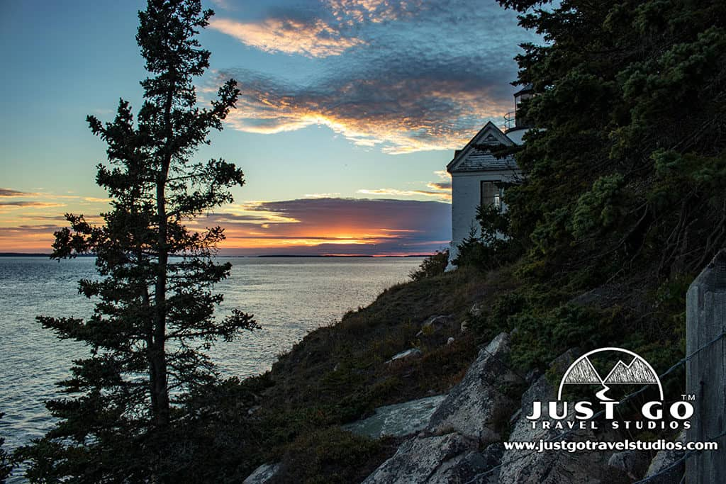 Amy and Pete of Just Go Travel Studios_sunset at Bass Harbor Light in Acadia National Park