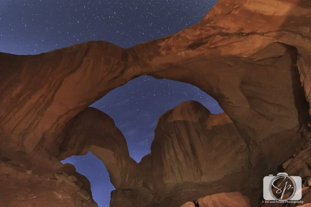 Double Arch at Night in Arches National Park Utah USA