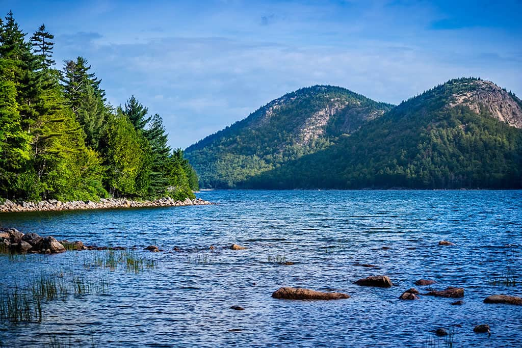 The Jordan Pond Path Trail in Acadia National Park, Maine USA