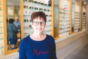 Andi Testing out her Lafont Frame Choice at The Village Eyeworks in Phoenix