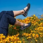 Andi amongst the Poppies at Santa Catalina Stae Park in Arizona in her Jambu Cherry Blossom Shoes in Navy-hero