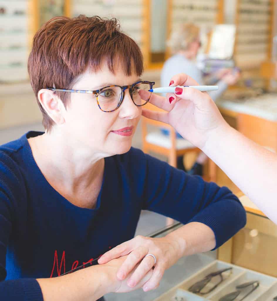 Andi getting fitted for her Lafont glasses in the Village Eyeworks Store in Phoenix
