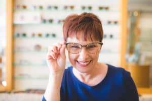 Andi trying on another Lafont frame in The Village Eyeworks in Phoenix