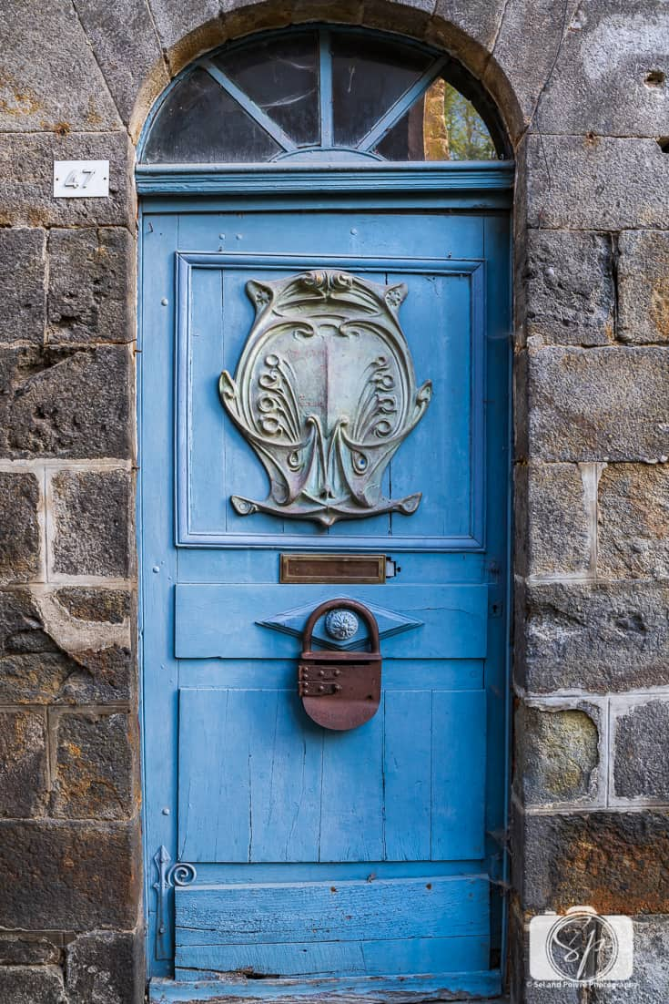 Beautiful blue door on the Rue du Jerzual in Dinan France