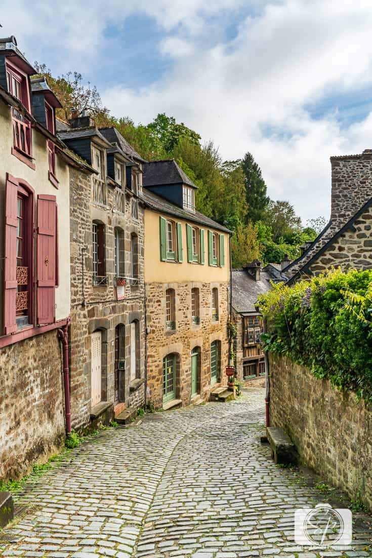 Medieval Half-Timbered Houses and Cobblestoned streets at the top of Rue du Jerzual in Dinan France