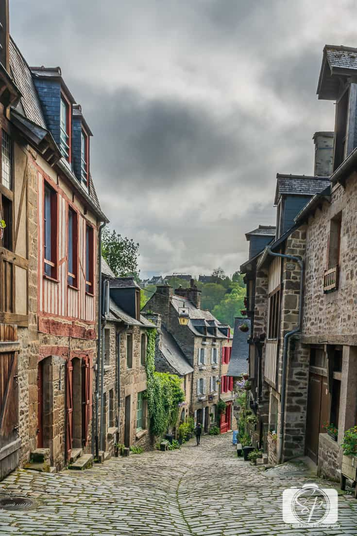 Medieval Half-Timbered Houses and Cobblestoned streets at the top of Rue du Jerzual in Dinan France 5