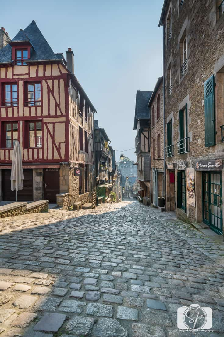 Medieval Half-Timbered Houses and Cobblestoned streets in Dinan France