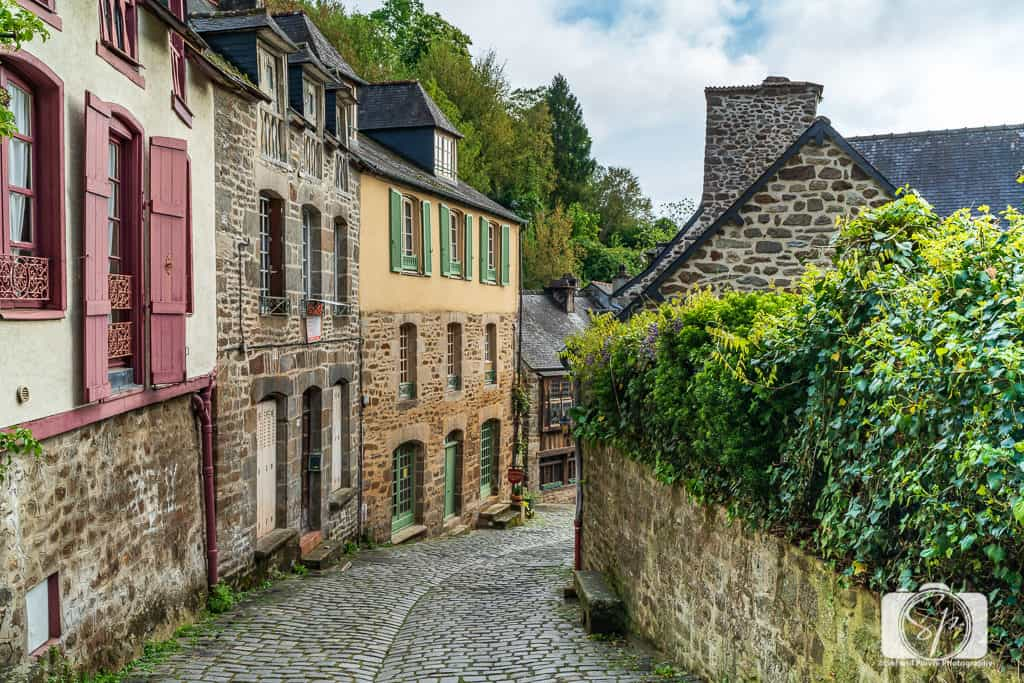 Medieval Half-Timbered Houses and Cobblestoned streets on Rue du Jerzual in Dinan France