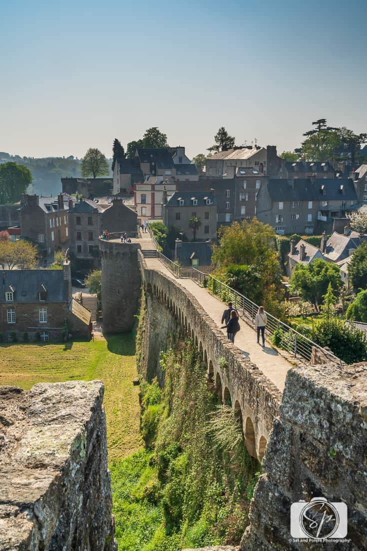 View from the Ramparts in the middle of Rue du Jerzual, the Porte du Jerzual in Dinan France