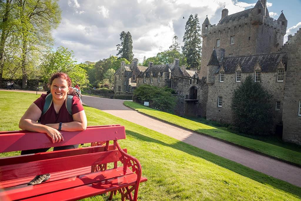 Traveler Tuesday - Janiel of Culture Trekking_Cawdor Castle - Red Bench