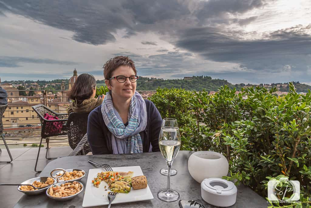 Andi enjoying an apero on the Westin in Florence Italy