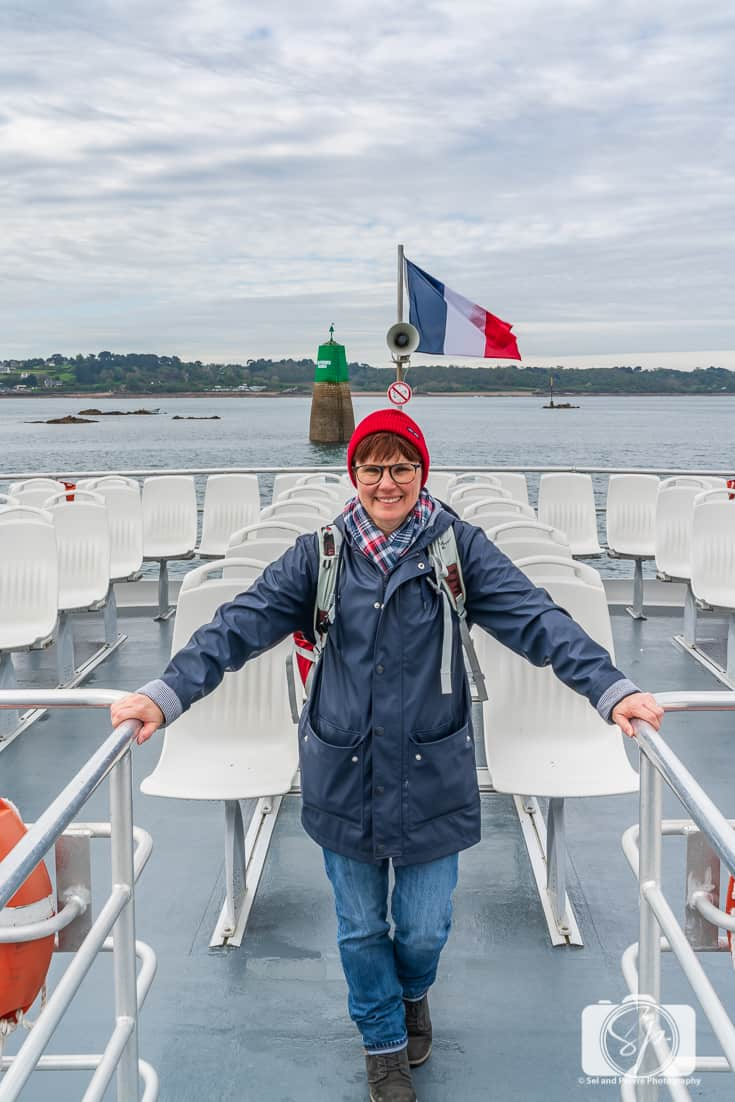 Andi on the ferry back from Ile de Brehat Brittany France