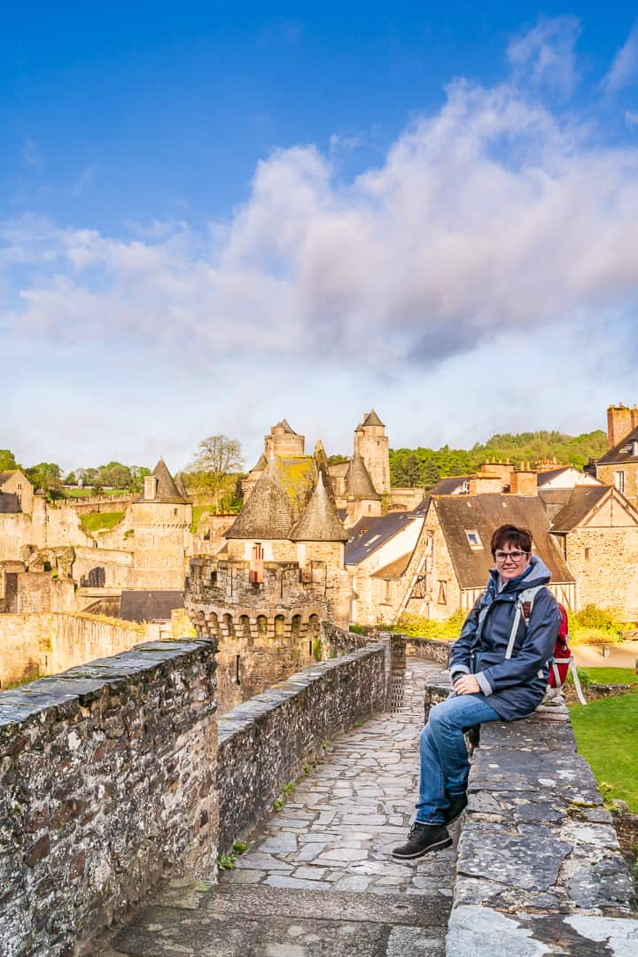 Andi on the ramparts around the Chateau de Fougeres - Fougeres France