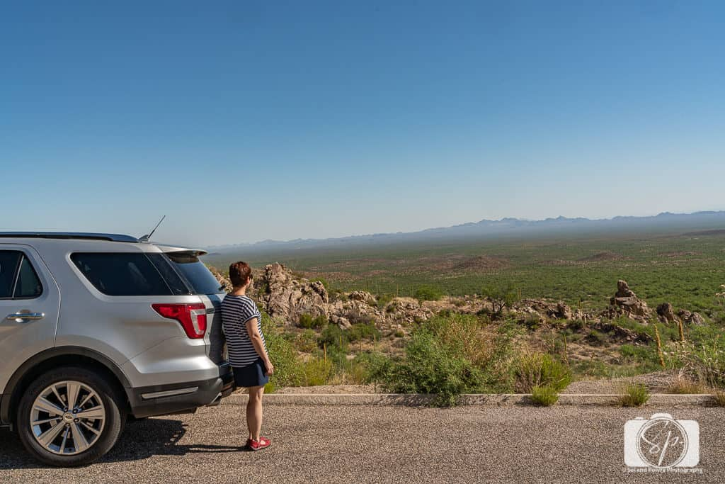 Andi with her Enterprise rental on the road to the Kitt Peak National Observatory