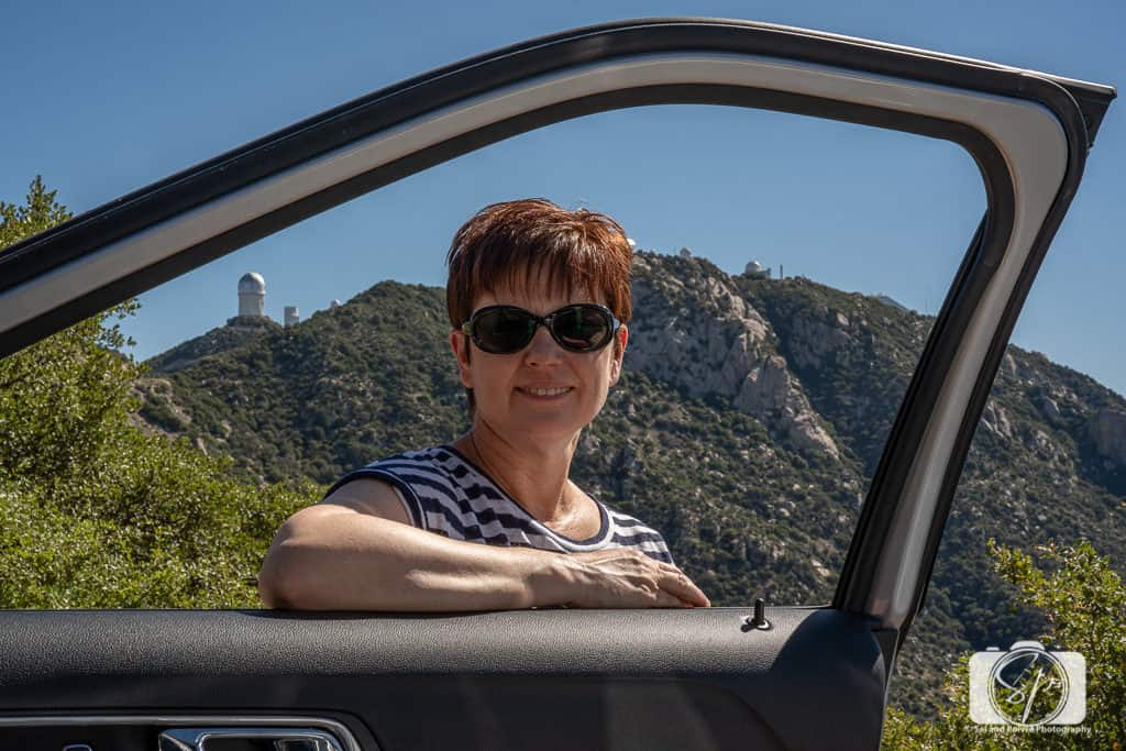 Andi wiht her Enterprise rental on the road to the Observatory 3