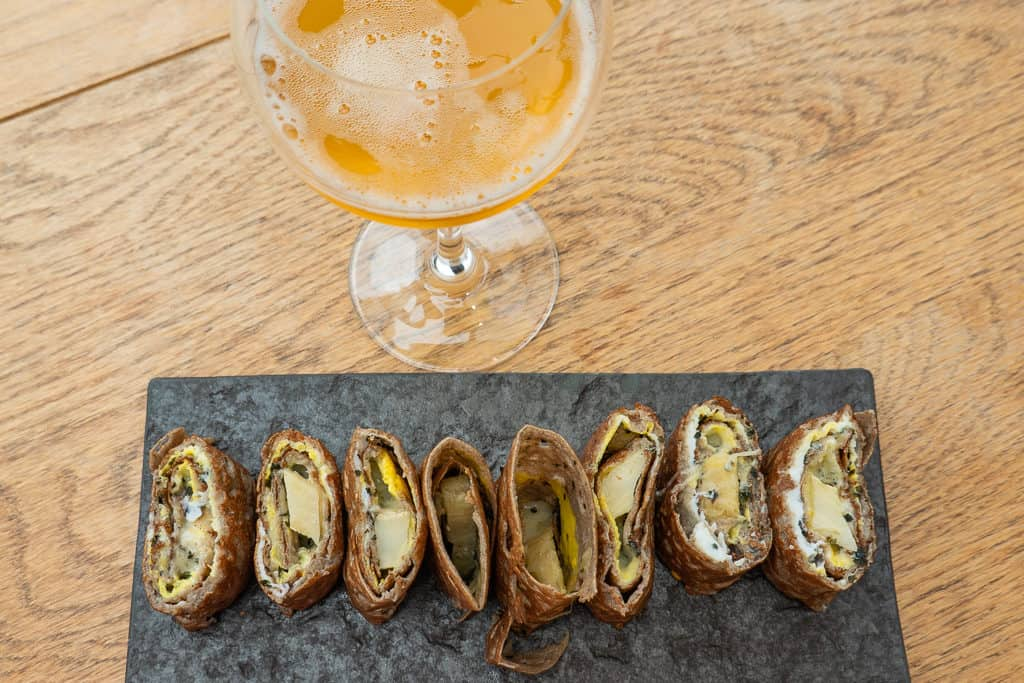 Artichoke Roll and cider at Breizh Cafe in Cancale France