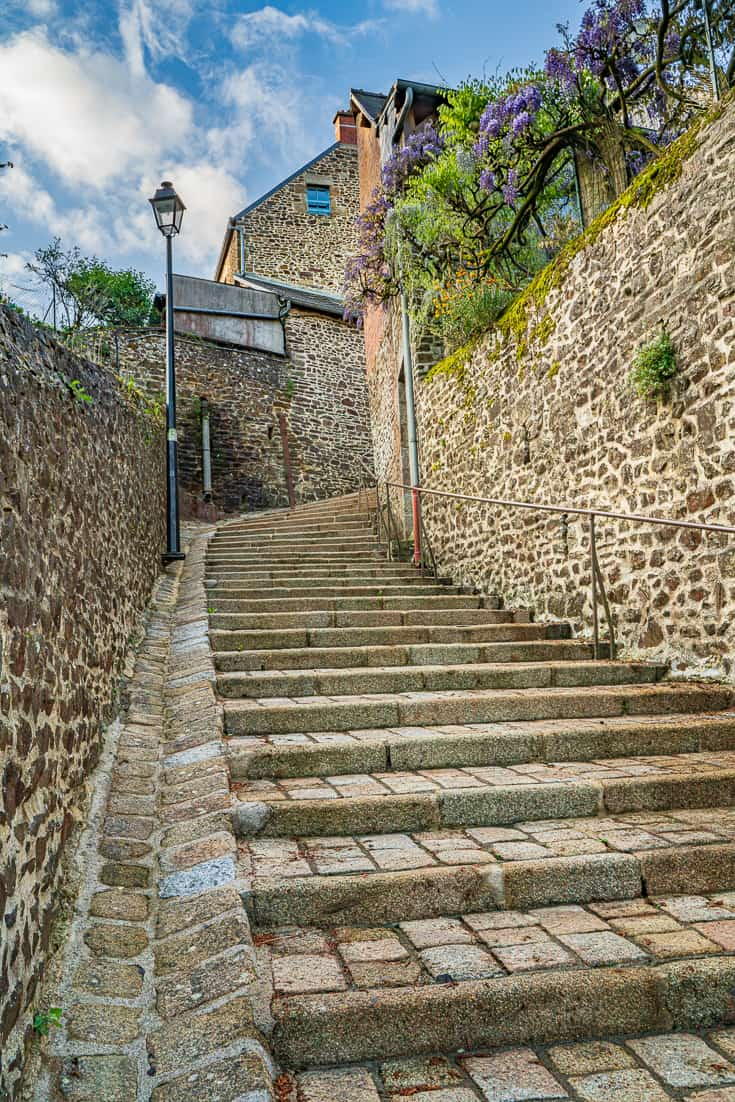 Going up the Balzac Stairs (staircase of the Duchess Anne) Fougeres France