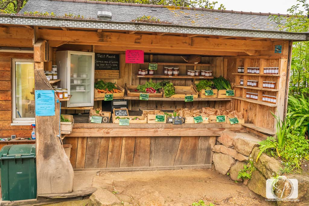 Organic farm stand on the Ile de Brehat Brittany France