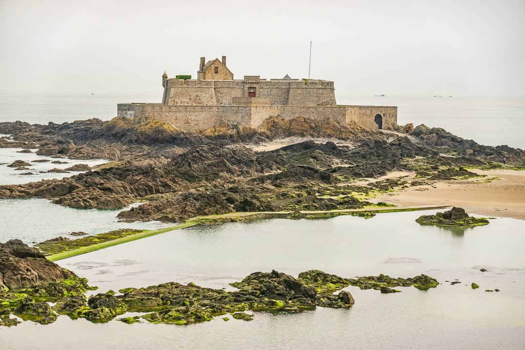 Fort La Reine Petit Be Tidal Island in Saint Malo Brittany France