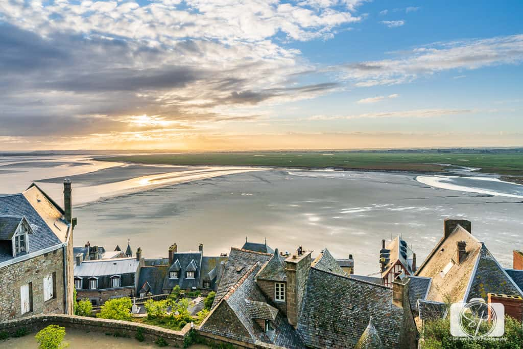 The view of Mont St Michel Bay from Mont St Michel Normandy France