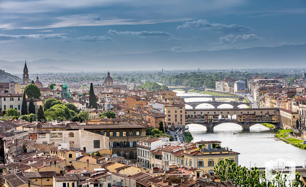 View of the Arno from the Westin in Florence Italy