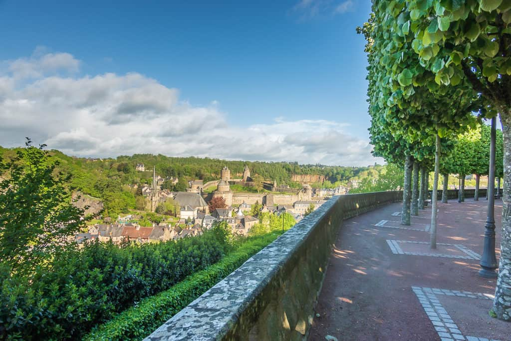 View of the Chateau de Fougeres from St Leonards church- Fougeres France
