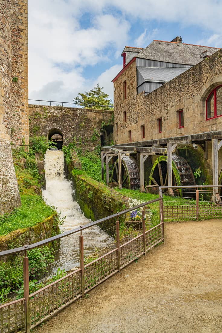 Water running through the mill at the Chateau de Fougeres - Fougeres France