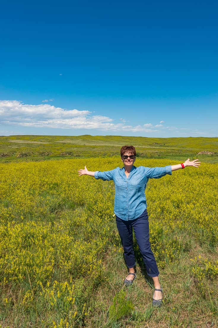 Andi at Little Big Horn National Monument in Chicos Summer Travel Collection