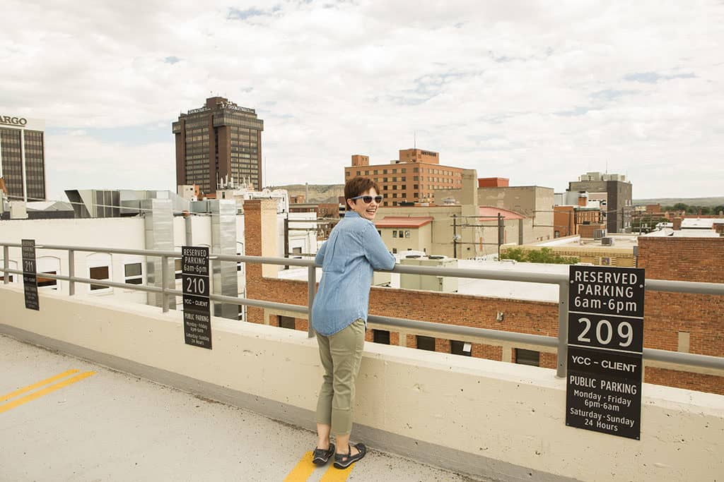 Andi on the Roof in Billings in her Chico's Summer Travel Collection