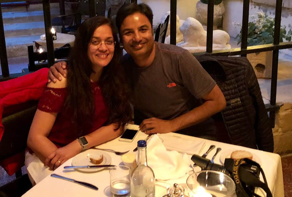 Traveler Tuesday – Jyoti of Story At Every Corner_This is a picture of us on our 25th anniversary in Mdian, Malta.