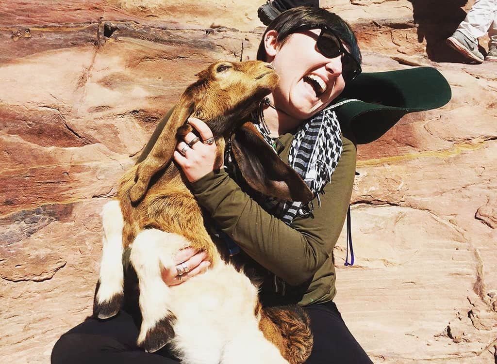 Traveler Tuesday – Retha of Roaming Nanny with Goat