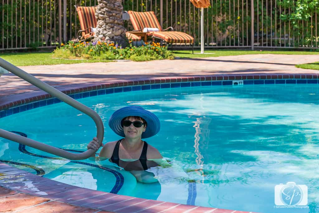 Andi at the pool at La Hermosa Inn Phoenix Scottsdale Arizona