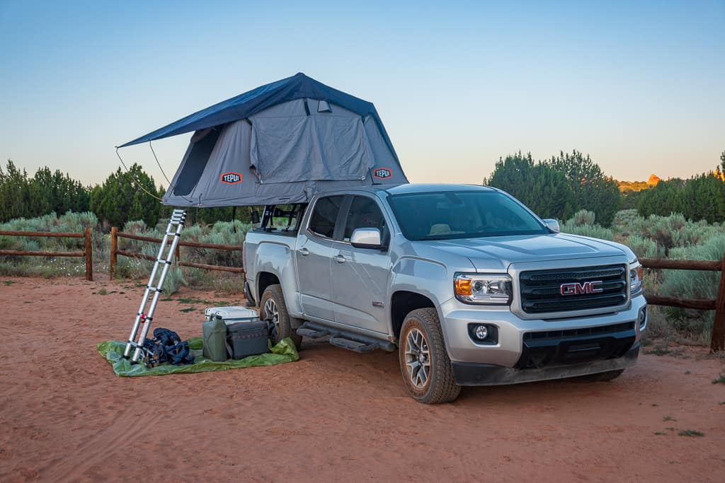 Tepui Hard Shell Rooftop Tent and Truck at White Pocket Arizona