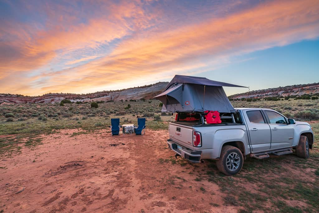 Tepui Hard Shell Rooftop Tent at Sunset in White Pocket Arizona