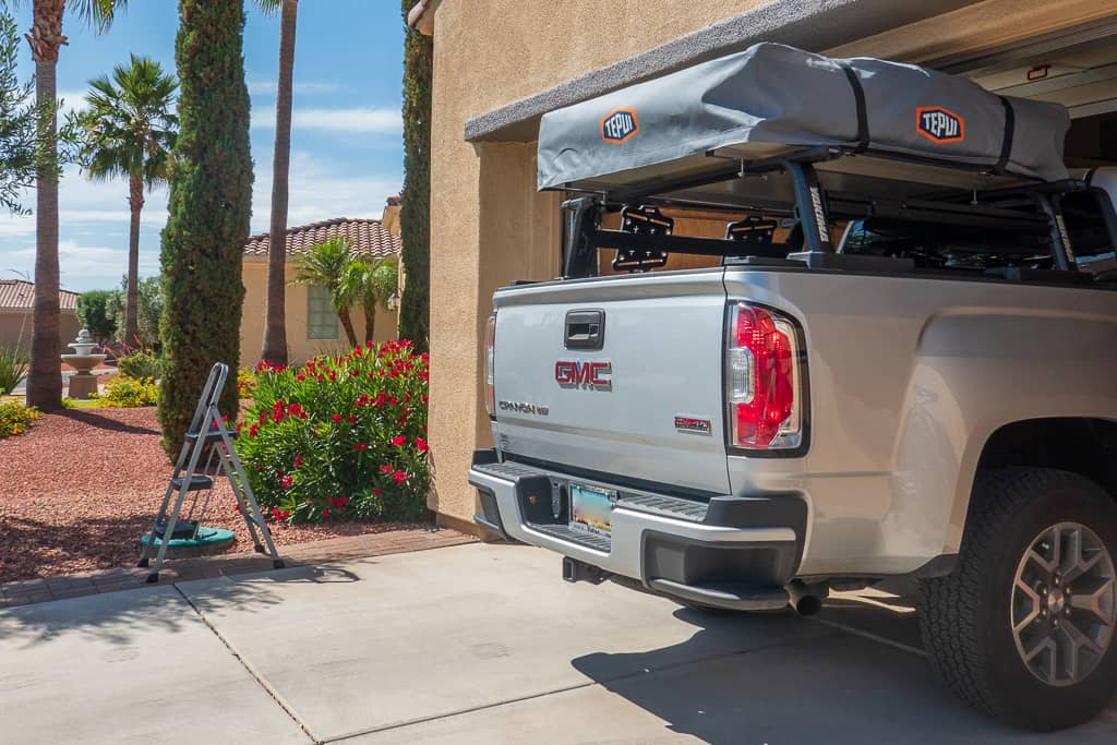 Testing our garage clearance for the Rooftop Tent