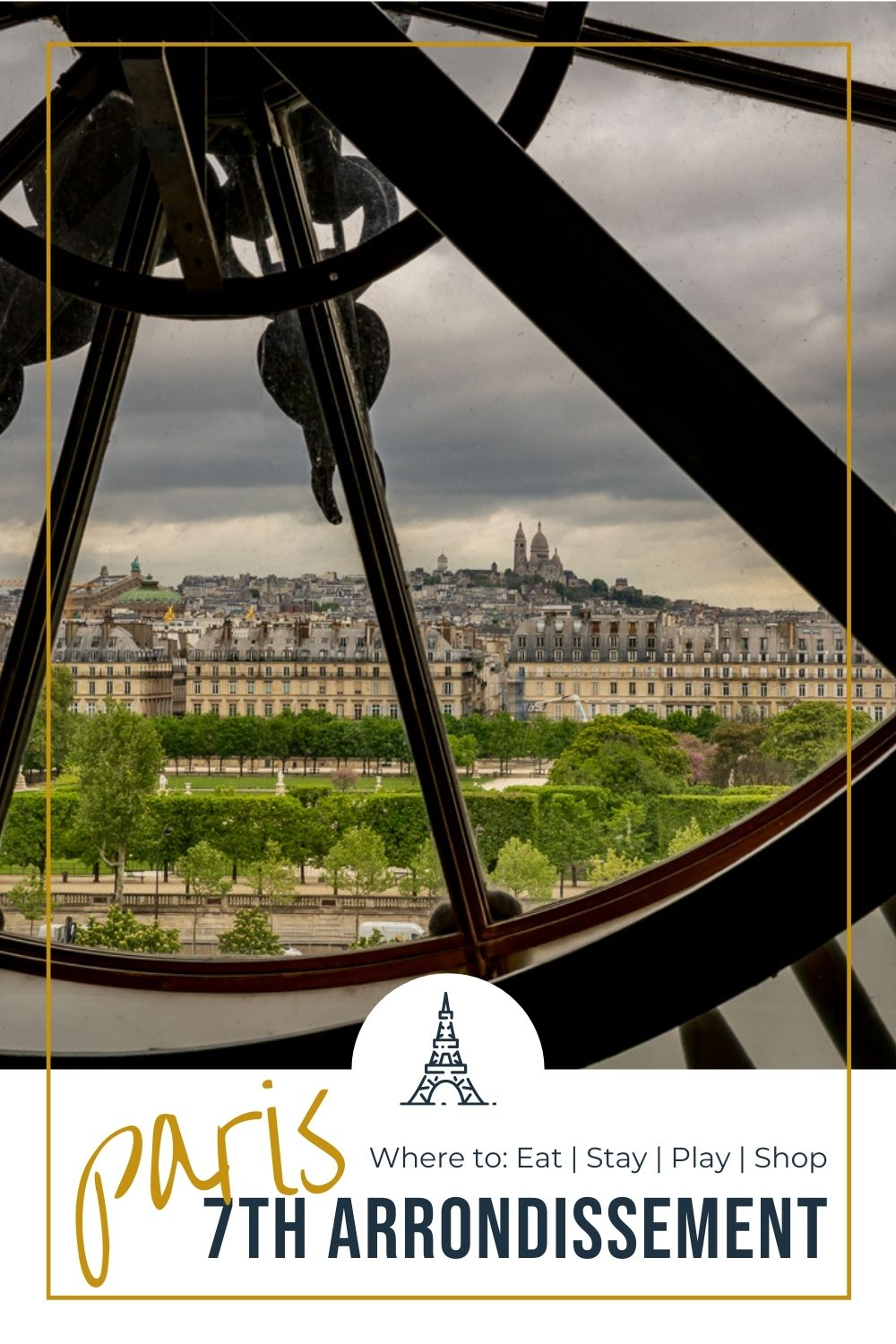 view of Paris from inside the Orsay museum