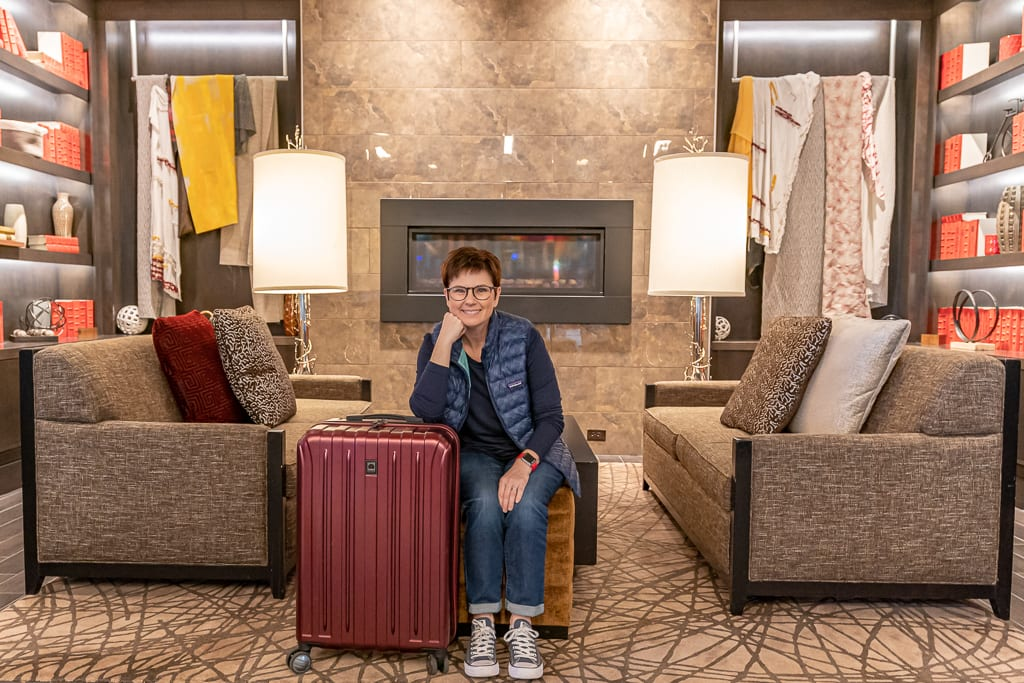 Andi with her Desley Medium Hardcase Luggage in the State View Hotel