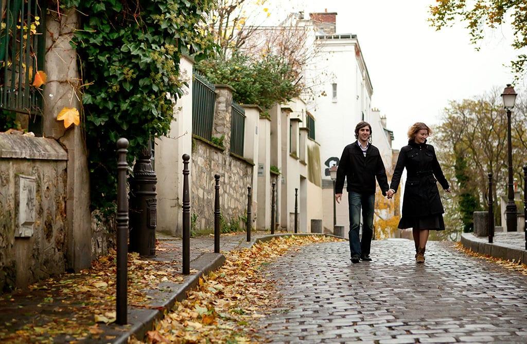 Paris City of Romance: Couple in Paris at Montmartre