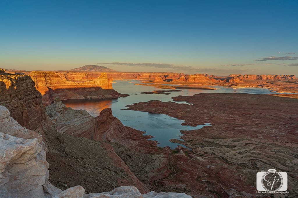 Sunset from Alstrom Point Above Lake Powell Utah USA