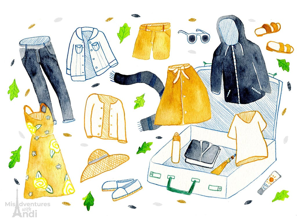 illustration with clothes and suitcase